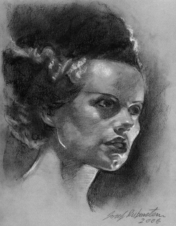 Bride of Frankenstein, chalk and pastel in My Photos by Joe Rubinstein
