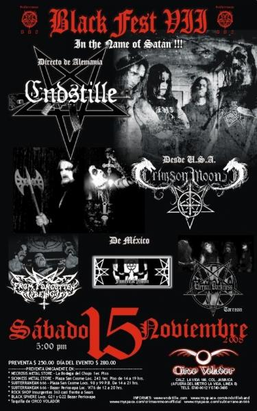 ENDSTILLE (  ALEMANIA ) CRIMSON MOON ( USA ) ETERNAL DARKNESS ( TORREON -MEXICO ) FUNERAL MOON ( DF ) FROM FORGOTTEN BEING ( DF ) in FLYERS by