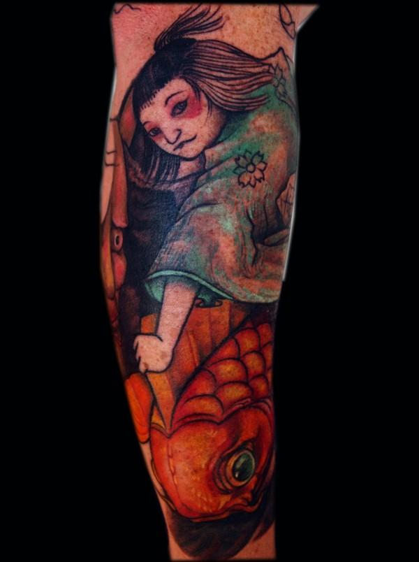 Japanese half sleeve koi carp with a japanese girl in Tattoo's by claire