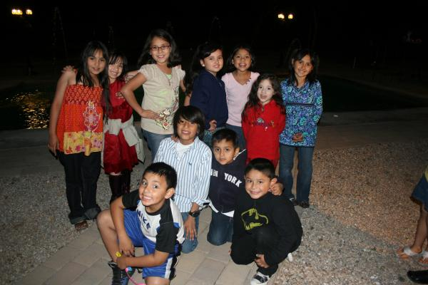 The kids posing before hitting the piñata in Mia's B-Day Party by