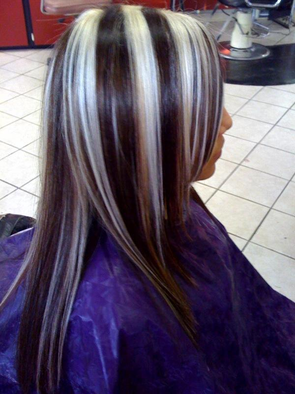 chunky platinum higlights on dark brown hair in My Photos by maria ...